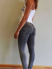 Jeans longue push up remonte fesses slim mode femme pantalon gris