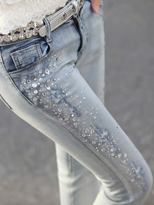 Light Blue Pockets Buttons Rhinestone Bedazzled Long Jeans