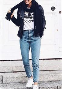 Light Blue Plain Pockets Buttons High Waisted Boyfriend Long Jeans