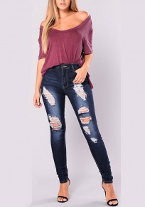 Dark Blue Patchwork Pockets Buttons Cut Out High Waisted Long Jeans
