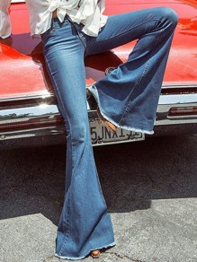 Dark Blue Pockets Bell Bottoms Long Flare Jeans