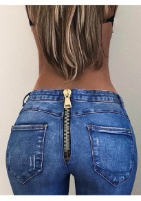 Blue Back Zipper Pockets High Waisted Boyfriend Mom Long Jeans