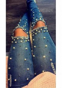 Longue jeans crayon déchiré troué perle slim mode femme bleu