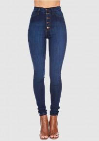 Pantalones vaqueros largos bolsillos pechos bodycon cintura alta moda mamá novio azul oscuro