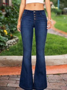 Dark Blue Single Breasted Pockets High Waisted Mom Flare Bell Bottom Boyfriend Long Jeans