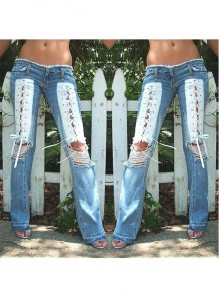 Blue Patchwork Drawstring Lace-up Cut Out Distressed Ripped Destroyed Pockets Bootcut Long Jeans