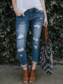 Light Blue Pockets Cut Out Fashion Long Jeans