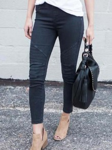Black Zipper Pockets Casual Long Jeans
