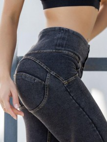 Dark Grey Pockets Single Breasted High Waisted Fashion Long Jeans