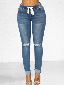 Light Blue Cut Out Pockets Drawstring High Waisted Long Jeans