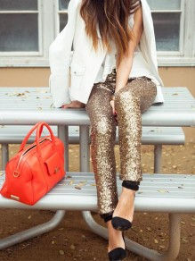 Golden Plain Sequin Elastic Waist Long Leggings