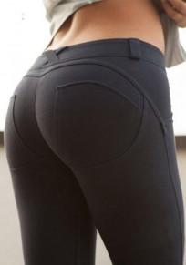 Legging cintura normal elástico normal O delgado amarre tinte negro