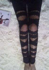 Black Patchwork Lace Elastic Waist High Waisted Legging