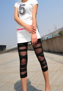 Black Patchwork Grenadine Sewing Mid-rise Slim Thin Legging