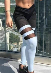 Legging yoga à rayures sport décontracté mince noir-blanc
