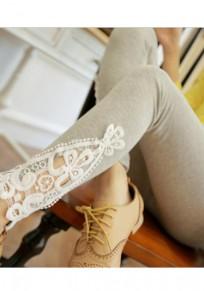 Legging encaje cortado elástico gris claro