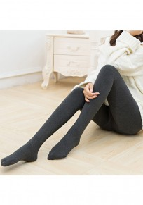 Grau Hohe Taille Winter Samt Warme Gefüttert Dicke Fleece Leggings Thermische Stretchy Strumpfhose Damen