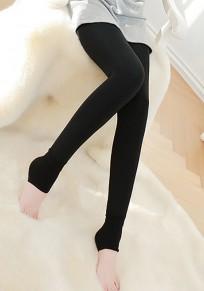 Leggings uni élastique mode épais longues noir