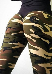 Army Green Camouflage Print High Waisted Peach Heart Sports Yoga Long Legging
