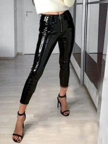Black PU Leather Zipper High Waisted Bronzing Rubber Christmas Party Legging