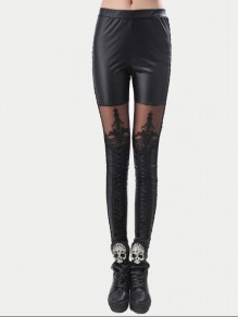 Black Patchwork Lace Embroidery Lace-up Elastic Waist Nine's Fashion Leggings