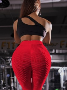 Rot Welligkeit Kreuz Hohe Taille Sport Fitness Yoga Schlank Push Up Lange Leggings Günstig Damen Mode