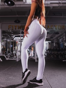 Weiß Welligkeit Kreuz Hohe Taille Sport Fitness Yoga Schlank Push Up Lange Leggings Günstig Damen Mode