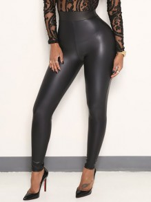 Schwarz PU-Leder Latex Hohe Taille Skinny Push Up Schlank Lange Leggings Hose Damen Mode