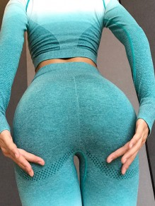 Green Gradient Color Elastic Waist Stretch Yoga Sports Skinny Legging