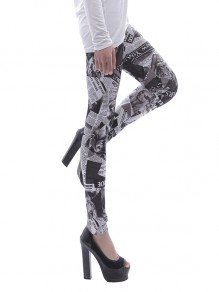White Newspaper Figure Print Figurbetontes Workout mit hohem Bauchumfang und Stretch-Yoga-Legginghose