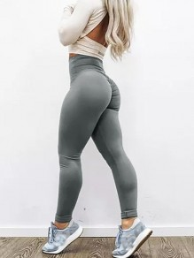 Grau Gefaltete High Waisted Skinny Yoga Push Up Lange Leggings Damen Mode