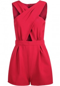 Red Plain Cross-Over Neckline Cut Out Short Jumpsuit