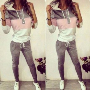 Grey Color Block Drawstring Pockets Buttons 2-in-1 Long Jumpsuit Tracksuit