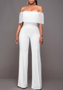 White Patchwork Lace Zipper High Waisted Long Jumpsuit