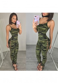 Multicolor Camouflage Print Round Neck Spaghetti Strap One Piece Long Jumpsuit