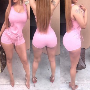 Pink Pockets Round Neck Sleeveless Drawstring Waist Casual Short Jumpsuit
