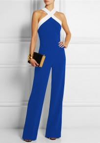 Blue Patchwork Zipper Sewing Mid-rise Fashion Long Jumpsuit