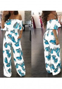 Blue-White Floral Print Backless Ruffle Long Jumpsuit