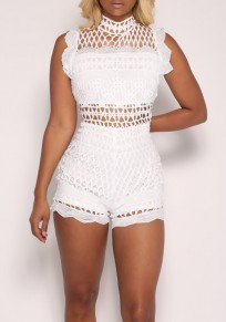 White Lace Grid Cut Out Zipper One Piece Casual Short Romper