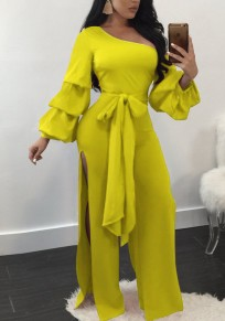 Yellow Blue Asymmetric Shoulder Double Slit Sashes Lantern Sleeve Wide Leg Long Jumpsuit