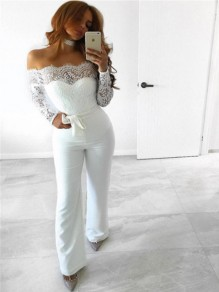 White Patchwork Lace Sashes Backless Off Shoulder Outfit Wide Leg Long Jumpsuit