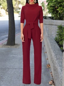 Burgundy Sashes Formal Elbow Sleeve High Waisted Party Wide Leg Long Jumpsuit
