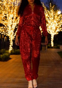 Red Sequin Zipper Drawstring High Waisted Sparkly Clubwear NYE Party Long Jumpsuit