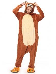 Brauner Affe mit Kapuze Erwachsener Känguru Nachtwäsche Lange Karikatur Jumpsuit Overall Sleepsuit Schlafanzug Damen