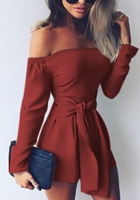 Wine Red Sashes Boat Neck Fashion Short Jumpsuit