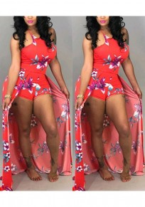 Red Floral Spaghetti Strap Flowy Draped Cute Bohemian Romper With Train Short Jumpsuit