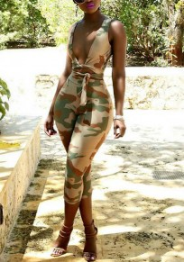 Army Green Coma Print Lace-up Two Piece Deep V-neck High Waisted Casual Seven's Jumpsuit