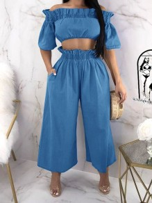Blue Ruffle Pockets Two Piece Off Shoulder High Waisted Denim Casual Long Jumpsuit