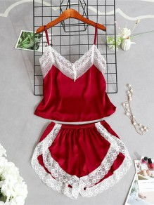 Burgundy Patchwork Lace Two Piece Spaghetti Strap V-neck Sweet Short Jumpsuit