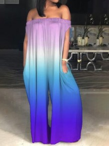 Purple Patchwork Gradient Color Pockets Draped Off Shoulder Oversized Wide Leg Long Jumpsuit